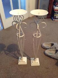 Tall shabby chic candle holders