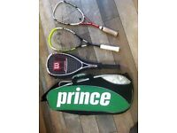 3 SQUASH RACQUETS with CARRY CASE exc condition