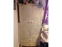 White wicker wardrobe ex The Pier excellent quality piece