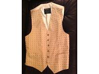 Favourbrook hand made 100% silk waistcoat Cream/gold