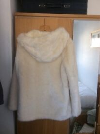 Ladies cream fake fur jacket