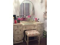 Lovely shabby sheek solid antique dressing table and chair