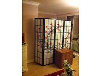 Cherry Tree Shoji 4 panels Screen - Black