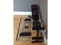 York Fitness weight bench & Dumbbell sets.