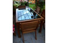 Garden set wooden table with glass insert and x4 chairs £350