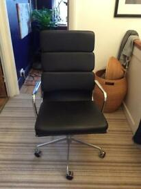 Black leather reclining office chair in vgc hardly used