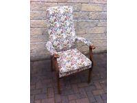 Vintage Parker Knoll armchair Model number P.K.928/s in original fabric