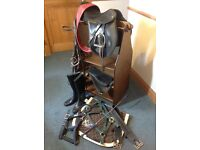 Horse Riding Tack, Saddle, Reins, Boots + Rack. Equestrian.