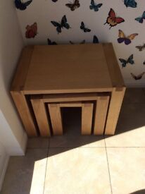 Solid oak nest of tables by John Lewis