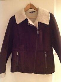 Ladies Sheepskin Brown zipped Jacket