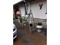 Heavy solid wood high step ladder.