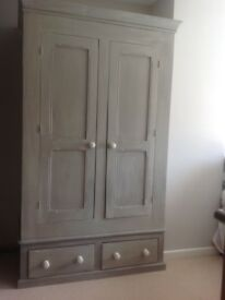 Shabby Chic Solid Double Hand Painted Wardrobe