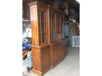 Wood display cabinet with glass doors