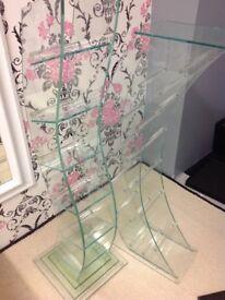 Sculptural Sturdy Glass CD Racks