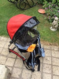 Chicco caddy backpack baby carrier, forward facing, sun canopy and rain cover, excellent condition