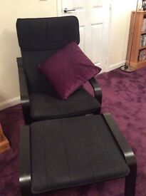 Ikea black prang chair and footstool