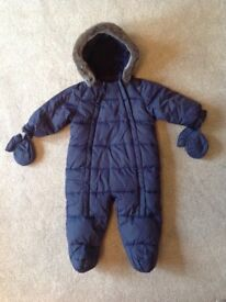 John Lewis Baby Quilted Snowsuit, Navy 6-9 months