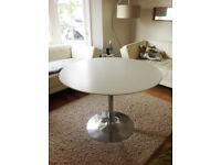 Dining Table (Dwell) - circular, 110cm, white top, chrome base