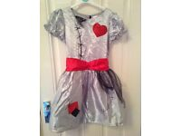 Girls Halloween Silver zombie Fancy Dress Outfit 7-8 years new without