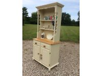 Shabby Chic Solid Pine Small Welsh Dresser with Barley Twist Supports in Farrow and Ball