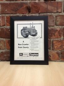 Framed Original Vintage The County Ploughman Ad from the Farm Mechanization magazine, February 1958