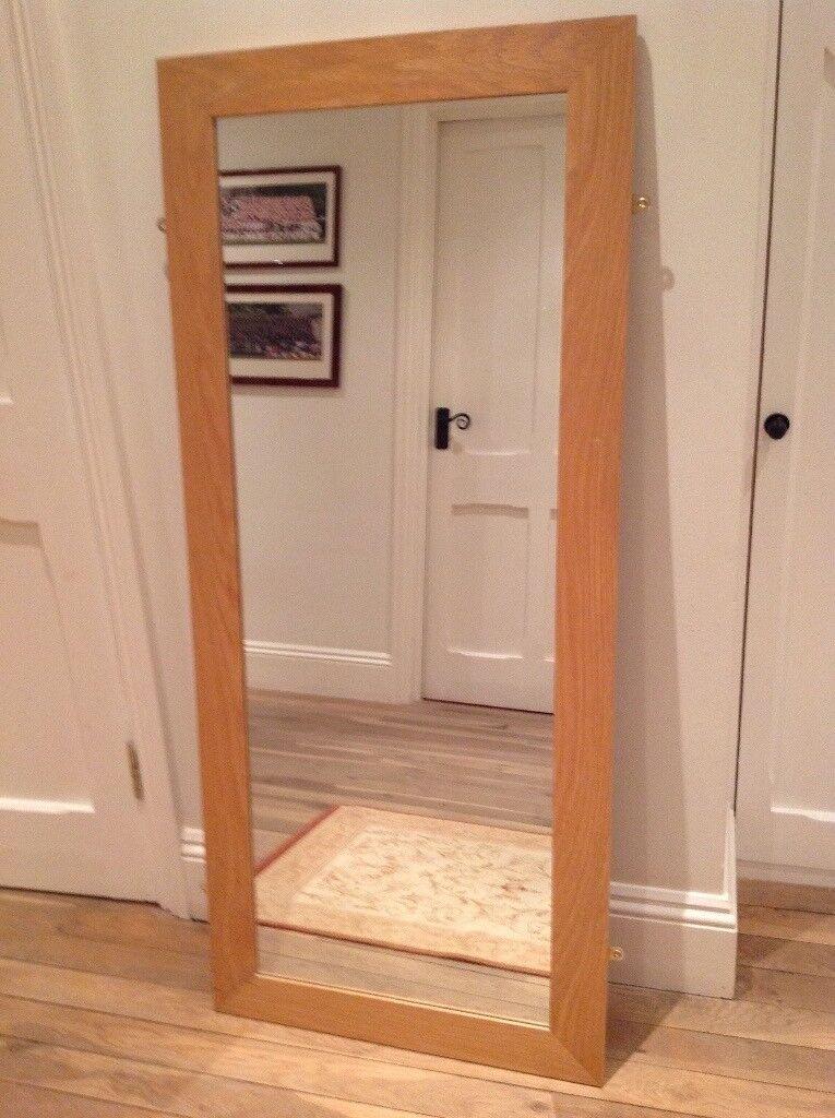 Large light coloured wood mirror