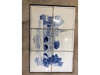 Pulteney Bridge blue and white tiled plaque