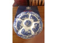 Spode Blue Italian Scallop Edged Hors d'Oeuvre 6-compartment Rose Dish Party Platter 11'5