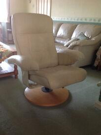 Cream Leather Reclining Swivel Chair