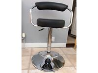 New unused bar stool - black leather effect seat and back rest