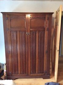 AY Crown double wardrobe, linen fold detail,stained oak, c1950s New lower price!!!