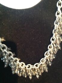 925 hall marked silver heavy chain necklace, with beautiful cut glass droplets