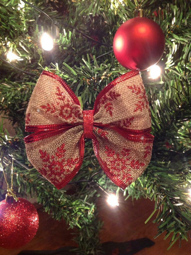 Christmas Tree Bows Red.6 Unique Hessian Christmas Tree Bows With Red Glitter Snowflakes In Kirkby Merseyside Gumtree