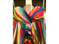 """COAST"" MULTI-COLOURED MAXI DRESS - A STRIKING PRINT, STRAPLESS, VERY GOOD CONDITION"