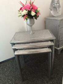 Metallic silver glitter nest of 3 tables