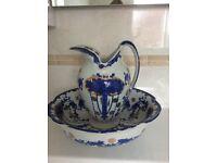 Victorian water jug and wash bowl