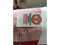 Man Utd reversible double duvet cover with pillowcases also man Utd curtains 54x 66.