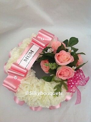 Artificial Silk Flower Wreath Ring Tribute Funeral Memorial False Grave Mum Nan
