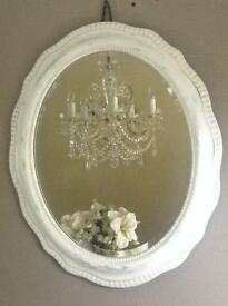 Shabby Chic Oval Wave edge Mirror