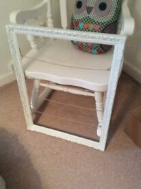 Antique white painted picture frame, with hessian string lines for photo display
