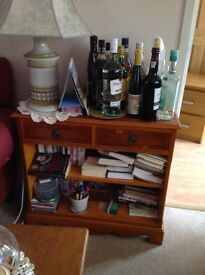 Yew bookcase two drawers