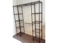 Expandable hanging rail and storage unit