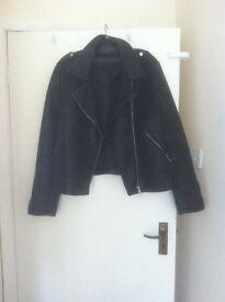 Black faux leather biker style jacket