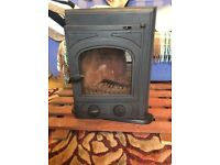 Inset glass fronted stove