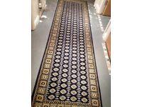 RUG / Carpet Runner 80 x 300cm - Navy Blue with Sand/ Beige Pattern