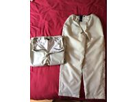 2 pairs cream thermal waterproof trousers unisex size medium