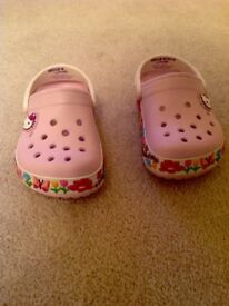 Kids hello Kitty crocs