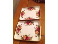 Royal Albert old country rose square plates