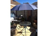 Garden Table, 4 Chairs and Parasol very good condition