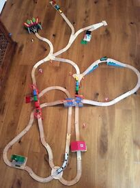 Wooden train set 101 pieces- incl Brio and Bigjigs